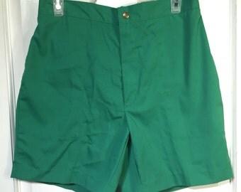 Green 80s Rough Rider shorts.