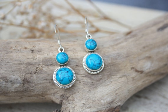 TURQUOISE CABOCHON EARRINGS - Sterling Silver Earrings- Gemstone Earrings- Handmade- Silver Jewellery- Sacred Geometry- Healing Crystals