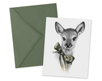 Fawn Card 1pc Blank Baby Deer A2 Note Card