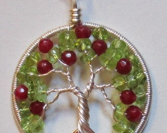 Apple Tree of Life, Peridot and Red Jade Wire Wrapped Tree of Life, Apple Tree Jewelry, Apple Tree Necklace