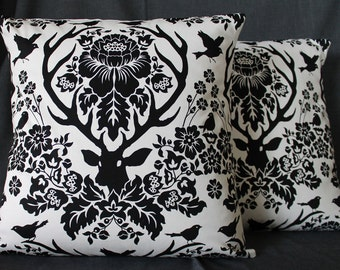 One Pair of Black and White Stag Deer Pillows, Monogrammed and Inspired by Hannibal