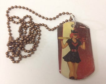 Upcycled Batgirl Comic Book Dog Tag Necklace