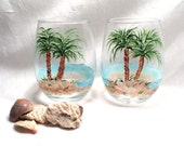 Beach theme palm tree pair of stemless wine glasses