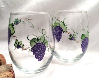 Stemless pair of hand painted grape wine glasses