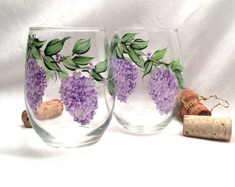 Free shipping Lilacs hand painted stemless pair of wine glasses