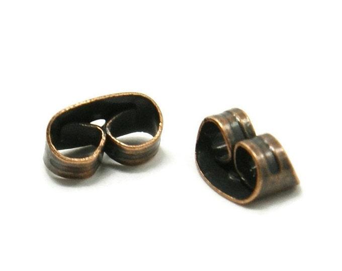 Earring back stopper antique copper - earring stoppers earnuts - 6mm x 4mm (1581) - Flat rate shipping