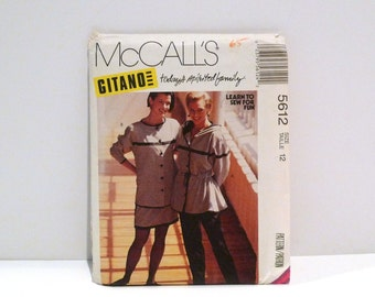 Gitano Anorak Jacket Skirt Pants Vintage McCalls 5612 1990s Gathered Waist Hoodie Two Piece Suit Athleisure Never Used Size 12 Bust 34