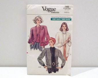 Twinset Cardigan and Top Vogue 7362 Never Used 1980s Vintage Very Easy Sewing Pattern FF uncut Loose Pullover Top Sweater Jacket Size 6 8 10