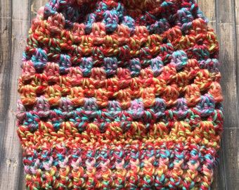 Granny Stitch Slouch Beanie- Carnival