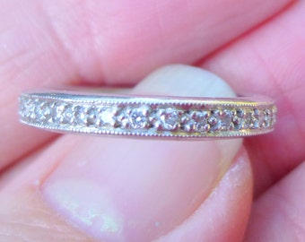 AMAZING Heavy 5.8  grams of platinum and diamond anniversary band 50 points total weight Stacker band wedding band milgrain