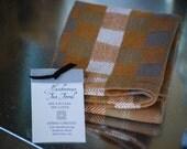 Tea Towel- Quarters- Handwoven Cotton/Linen Pumpkin