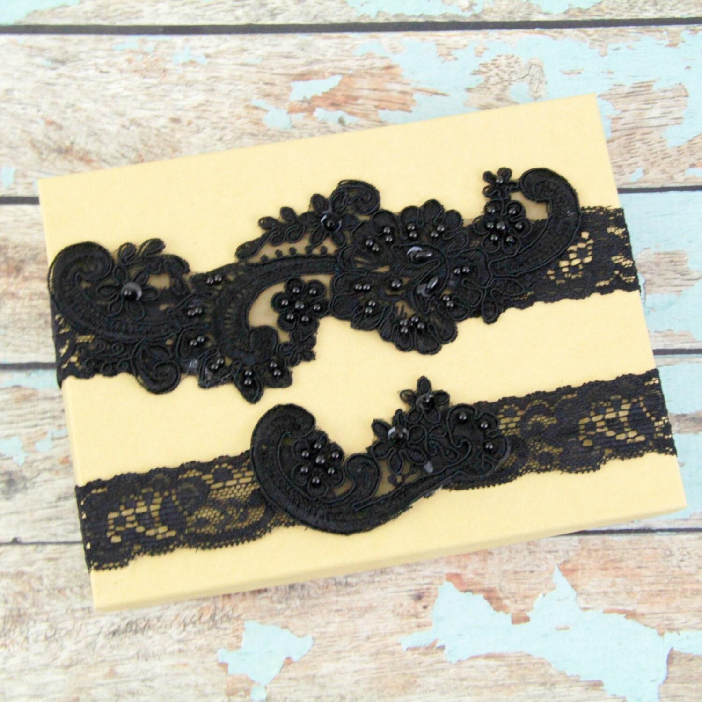 Black Pearl Beaded Lace Wedding Garter Set Black Lace Garter