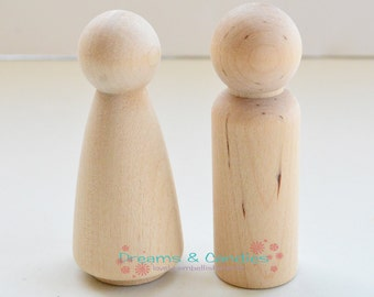2 Set (4 pieces) of Couple Bride and Groom  Called to Couple Mom and Dad or Couple Grandma and Granpa- Miniature Wooden Little People