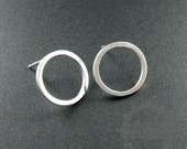 1pairs 14mm high quality solid 925 sterling silver round circle morden earrings stud 1702088