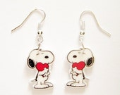 Snoopy Earrings Heart Valentines Day  Earrings Peanuts Gang Earrings