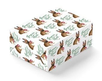 Custom French Bulldog Joyeux Noël Gift Wrap | Christmas