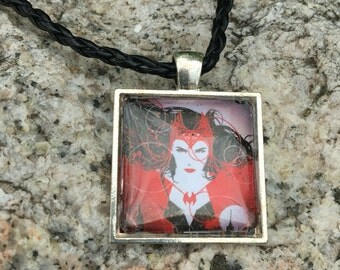 Photo Art Glass Title Necklace, Scarlet Witch necklace