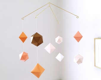 multi-layered geometric mobile - baby mobile - nursery mobile - blush
