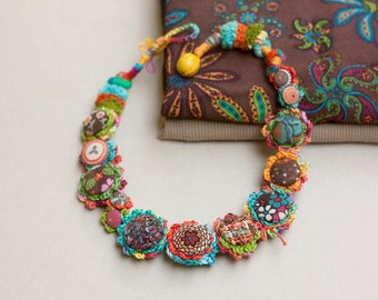 Crochet art necklace, fiber jewelry with fabric buttons, colorful OOAK statement necklace