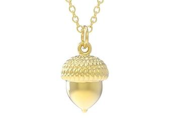 Solid Round 3D 14K Gold Acorn Pendant