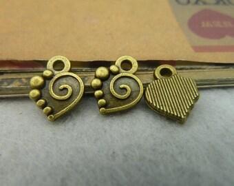 50pcs 10*13mm antique bronze love heart charms pendant C3854