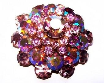 Warner Brooch Pin Pink Lilac Rhinestones Domed 4 Tiers Gold Metal Vintage