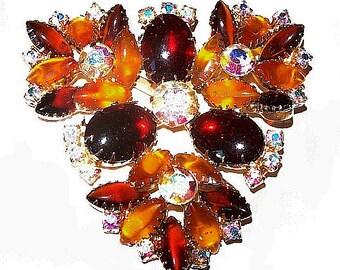 """Schreiner Cherry Amber Brooch Topaz AB Rhinestones HUGE Gold Metal 3"""" Vintage"""