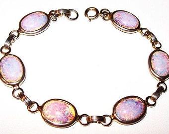 """Opal Tennis Link Bracelet 6 Pink Blue Oval Stones Gold Metal 7.5"""" Vintage"""
