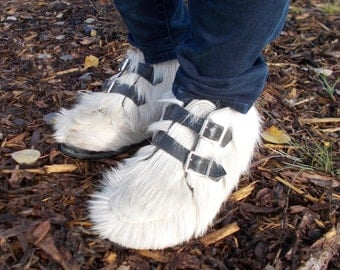 vintage white fur yeti ankle boots - 60s