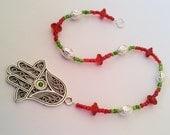Hamsa Hand Wall Hanging Ornament Decoration - Silver Green & Red Beaded Lanyard, Judaica Israeli Jewelry Fatima Hand