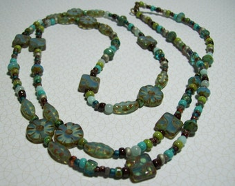 Aqua Czech Flower Necklace. Czech Glass in Blues and Greens. Multicolored Necklace. Long Necklace. Boho Chic. Hippie.