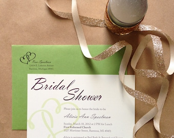 Bridal Shower Invitation - Two Hearts