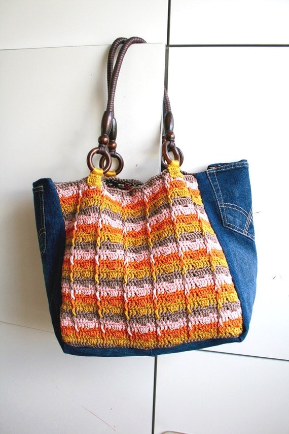 Crochet pattern, crochet boho bag pattern, crochet color tote pattern ...