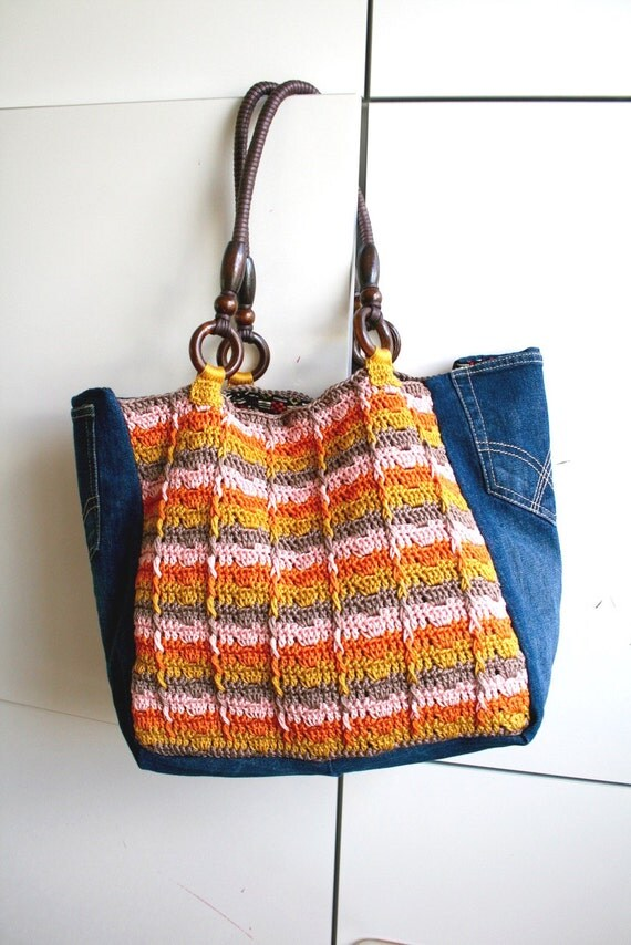 Crochet Boho Bag : Crochet pattern, crochet boho bag pattern, crochet color tote pattern ...