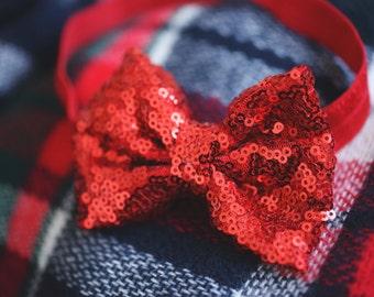 Red Sequin Bow Headband - Baby Headband - Sequin Bow - Baby Girl Headband - Valentines Headband - Red Bow Head band -  Baby Hair Bow