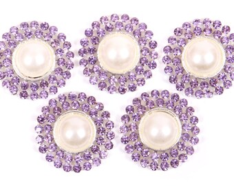 Metal Rhinestone Buttons - Pearl Drop Button - 20mm SET OF FIVE - Lavender