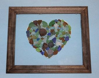 Heart Sea Glass Mosaic