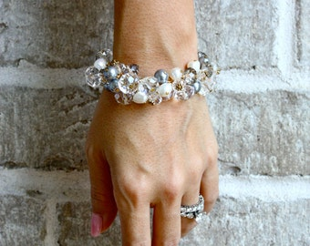 Freshwater Pearls and Crystals Chunky Cluster Bracelet, Statement Bracelet, Statement Jewelry