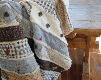 Large Throw Rag Quilt  RUSTIC Quilt  Throw Blanket Handmade Quilt