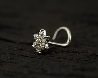 White CZ diamond flower nose screw / nose stud / nose ring