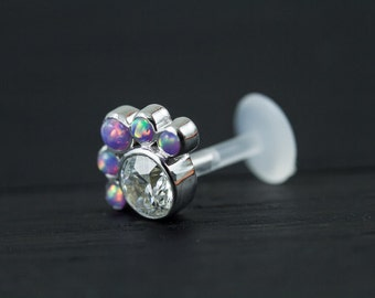 Purple opal and CZ diamond cluster push in 16g bio flexible tragus / cartilage / conch piercing