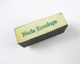 NUDE ENVELOPE Rubber Stamp Wood Back Used Vintage Hand Stamp