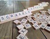 100 Vintage  Scrabble Tiles Letters and 4 Wooden Tile Racks