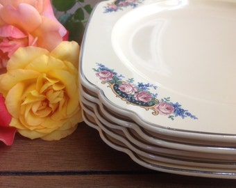 5 Homer Lauglin Rose Medallion Square Salad Plates with Pink Roses on Black Corner Print