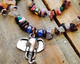Beaded Elephant Necklace - Elephant Necklace, Multicolored Gemstone Chip Elephant Necklace, Elephant Pendant Necklace