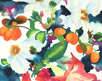 Poppy Flower and Kumquat Watercolor Painting, Poppies and Citrus Art Print, California Floral Giclee Print, Carissa Joie Luminess Art