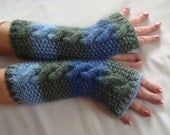 Handknit  Fingerless Gloves.Long Arm  Warmers.Wool  Fingerless  gloves in Variegated Green /Blue Winter Hand Warmers