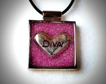 Pink Diva Heart Pendant