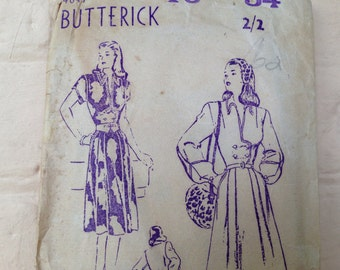 Vintage Butterick 4047 - size 16 Misses Tailored Dress
