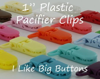100 KAM Clips/Plastic Clips Pacifier Soother/Paci/Dummy/Nuk/MAM/Bib/Toy Holder Clips: You Choose Color(s)
